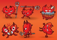 Collection of cartoon devil with heart shaped body