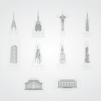 Collection of famous usa landmarks