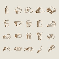 Collection of food and drinks icons