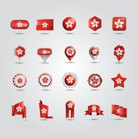 Collection of hong kong flag icons