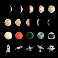Collection of moons and satellites