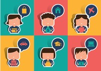 Collection of people with speech bubble