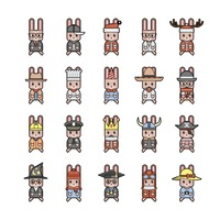 Collection of rabbit characters
