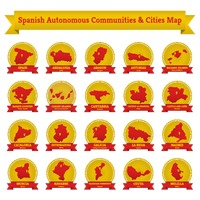 Collection of spanish autonomous communities and cities map