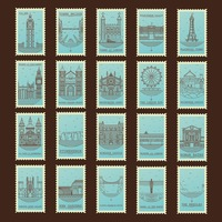 Collection of united kingdom landmarks postage stamps