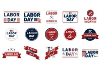 Collection of us labor day icons