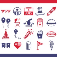 Collection of usa independence day icons