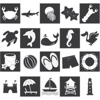 Collection of various beach silhouettes
