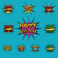 Comic style happy new year collection