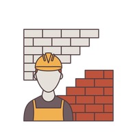 Construction worker and brick wall