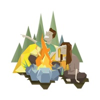 Couple with campfire