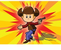 Cowboy over a explosion background