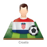 Croatia player with soccer ball on field