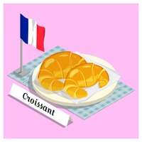 Croissant with france flag