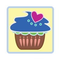 Cupcake over yellow background
