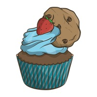 Cupcake with strawberry and cookie