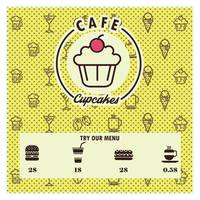 Cupcakes cafe menu card design