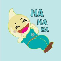 Cute emoticon saying ha ha ha