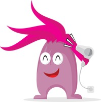 Cute monster with hair dryer