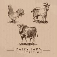 Dairy farm animals set