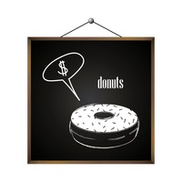 Donuts with dollar sign in speech bubble