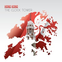 Double exposure of clock tower and hong kong map