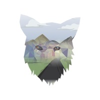 Double exposure of fox and landscape