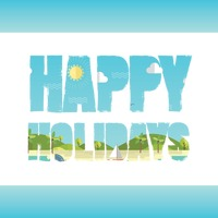 Double exposure of happy holidays text with beach landscape