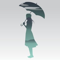 Double exposure of woman holding umbrella and sky