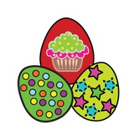 Easter eggs isolated over white background