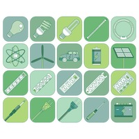 Electrical and energy appliance icon set