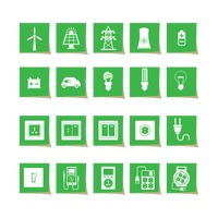 Electrical power and appliance icon set
