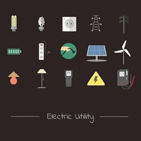 Electrical utility appliances and transmission icon set
