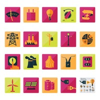 Electricity related icon set