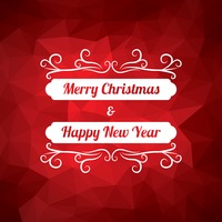 Faceted merry christmas and happy new year card