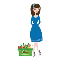 Fashionable woman with shopping basket
