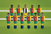 Foosball figurines represent cameroon football team