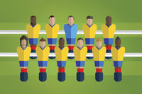 Foosball figurines represent colombia football team