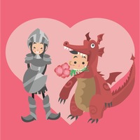 Girl in armor costume and a boy in dragon costume with flower in mouth