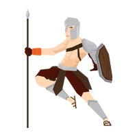 Gladiator soldier with spear and shield