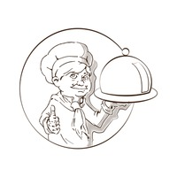Hand drawn chef with cloche