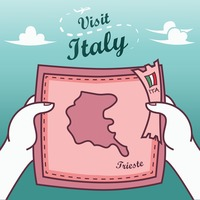 Hands holding trieste paper map