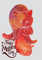 Happy mothers day card with cats