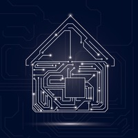 Home design on circuit board background