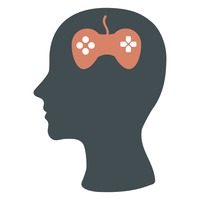 Human head silhouette with joystick