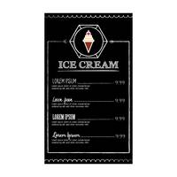Ice cream menu design
