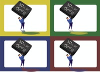 Icons of man lifting a digital clock