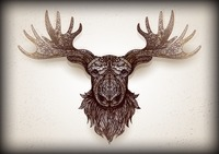 Intricate mounted stag head design