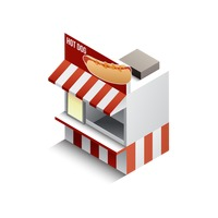 Isometric hot dog store