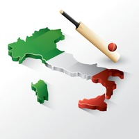 Italy map with bat and ball